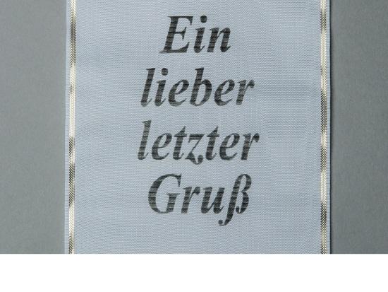 Kranzschleife mit anthraziter Schriftfarbe